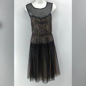 Mango Suit Black & Beige Midi Dress Size M.
